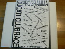 1992 DUCATI CLUBRACES ASSEN PROGRAMMA NEDERLAND BRUNO DUCATI,BIGGELAAR,YAMAHA OV
