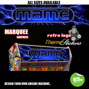 Mame Blue graphic Arcade Artwork Marquee Stickers Graphic / All Sizes