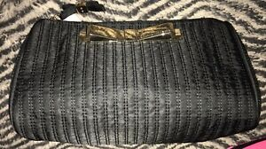 Victoria's Secret Cosmetics Bag New Black w/Gold Bow