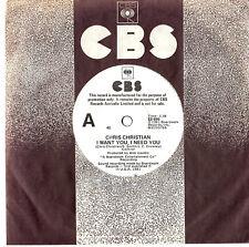 "CHRIS CHRISTIAN - I WANT YOU, I NEED YOU - PROMO 7""45 VINYL RECORD 1981"