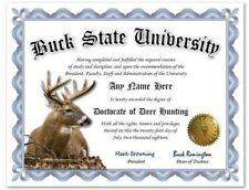 Buck State University Deer Hunting Personalized Diploma w/Gold Seal Novelty Gift