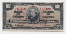 1937 $100 Bank of Canada Note Gordon Towers B/J 1013196