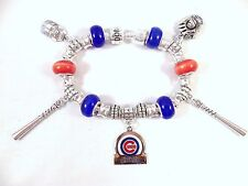 Official MLB CHICAGO CUBS Baseball Charms on Silver European Charm Bracelet