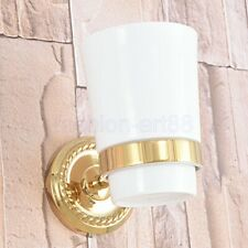 Gold Color Brass Single Tumbler Holder Toothbrush Cup Bathroom Accessory fba592