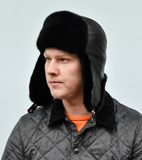 Selected Black Mink Fur & Black Leather Men's Aviator Ushanka Trapper Hat Sz XL