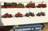 Fleischmann 7884 N 7-teiliges Güterzug-Set mit Dampflok G 8 Der Landbote in OVP
