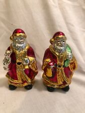 "2 Lot Santa China Shine Glaze Chrome Bear Trumpet Sack 4 1/2"" Tall Vintage"