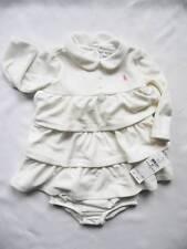 NEW Ralph Lauren Girls Velour Ivory Beige Long Sleeved Dress Knickers 6-9 months
