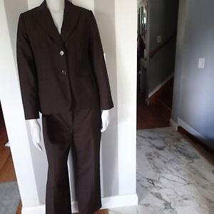 ann taylor loft  2PC,BLAZER,SUIT,Jacket SZ 4/6,pants brown wool blend ----