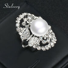 Ring White Gold Plated Fashion Jewelry Hollow Big Cubic Zirconia Butterfly Pearl