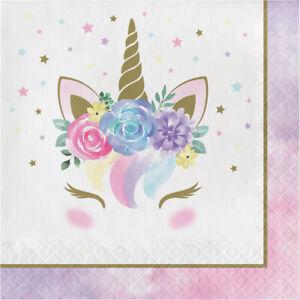 16 x Pretty Unicorn Party Paper Napkins Girls Birthday Unicorn party Supplies