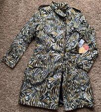 Apple Bottoms Long Double Breasted Jacket Coat Medium NWT Raincoat Animal Print