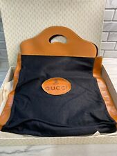 Vintage GUCCI  Black Felt Brown Faux Leather Shopper Tote Dust Bag Purse Italy
