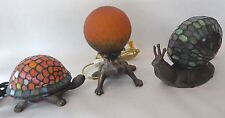 Lot OF 3 Tiffany Style Stained Art Glass Accent Lamps Snail Turtle & Frog
