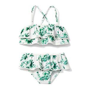 Janie And Jack White Parrot Palm Ruffle Bikini 2 Piece Swim Suit Sz. 3-6 M NWOT