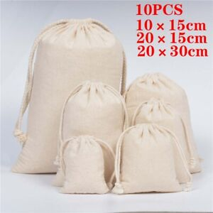 10x Drawstring Bags Cotton Linen Jewelry Candy Gift Storage Pouch Party Wedding