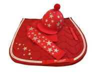 Red/White Cross Country Colours Horse Riding Set, Glitter /silver