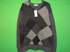 NWT Calvin Klein Mens Size XL Extra Large Gray Plaid V Neck Sweater NEW