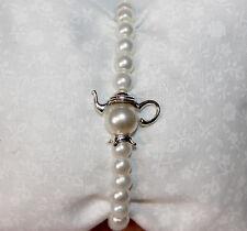 Stile Vintage Perla Bracciale con graziose Teiera cordone