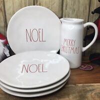 """Rae Dunn 4 NOEL 11"""" Dinner plates 1 MERRY CHRISTMAS Pitcher"""