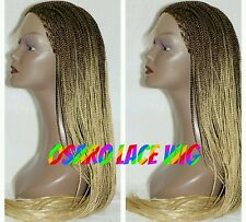 Full Long Brown ombre  blonde micro braided  lace Front wig. Human hair blend