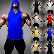 Men Sleeveless Hoodie Clothing Hooded Shirt Muscle Gym Bodybuilding Vest Tank V