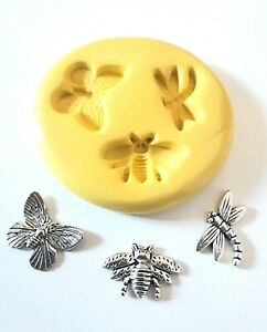 Small Insects Silicone Mould- Bee Dragonfly Butterfly FOOD SAFE Polymer Clay PMC