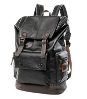 Men's PU Leather Travel Satchel Laptop Backpack Rucksack Hiking School Bag