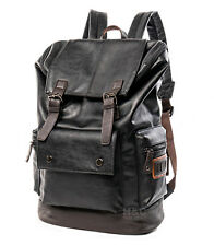 Men's PU Leather Travel Satchel Laptop Backpack Rucksack Hiking School Bag