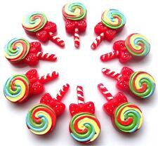 10 BEAUTIFUL RED CANDY CANE LOLLIPOP FLATBACK EMBELLISHMENTS FAST FREE P&P