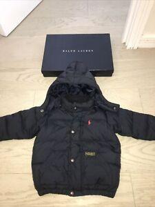 Ralph Lauren Designer Baby Boys Navy Blue Down Pad Puffa Coat Jacket Logo 12-18m