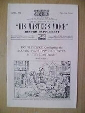 His Master's Voice Record Supplement 1946- KOUSSEVITAKY's BOSTON SYMPHONE ORCHES