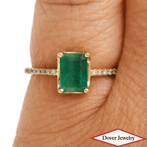 Estate Diamond 0.85ct Emerald 10K Gold Solitaire Ring NR