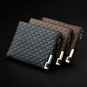 Mens Luxury Leather Zipper Coin Purse Soft Wallet Credit Card Holder Black Brown