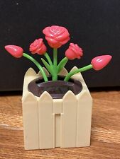 Solar Powered Dancing Toy Bobblehead Flower Pot - Pink Roses In Square Pot