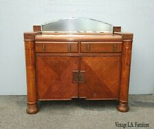 Vintage Art Deco Sideboard Credenza W Side Cabinet & Mirror French Country
