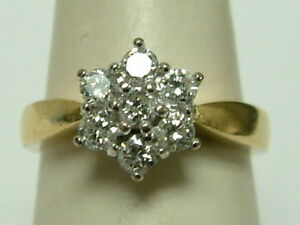 BEAUTIFUL QUALITY 18CT YELLOW/WHITE GOLD 0.50 CARATS DIAMONDS CLUSTER RING
