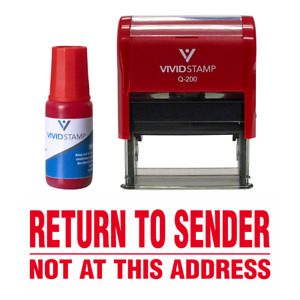 Return To Sender Not At This Address Self Inking Rubber Stamp Combo With Refill
