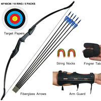 "57"" Archery Recurve Bow & Arrows Set Hunting Takedown Bow RH LH Target 20-40lbs"