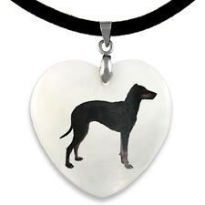 Manchester Terrier Natural Mother Of Pearl Heart Pendant Necklace Chain PP100
