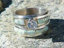 Native American Indian Navajo Wedding Rings Band White Opal CZ Muskett Sz 6
