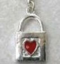 SILVER BAG WITH RED ENAMEL HEART CLIP ON CHARM FOR BRACELETS - S/PLATE- -NEW