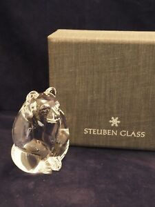 Steuben Art Glass Bear Crystal Figural Paperweight Hand Cooler Signed & Boxed
