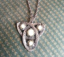 Silver Tone Necklace Pendant + Chain Vintage Jacobite Scottish Celtic Knot Agate