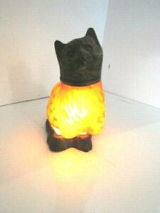 RARE Vintage Stained Glass & Brass Kitty Tiffany Style Night Kitty Lamp
