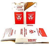 """Lab Safety Supply Biohazard Waste Burn Box 12"""" x 8"""" x 8"""" - 6 Pack"""