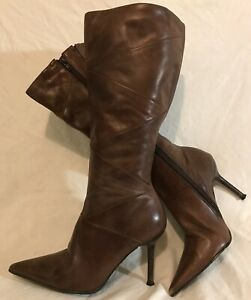 Barratts Brown Mid Calf Leather Lovely Boots Size 6 (138Q)