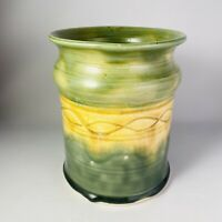 Rosewood Pottery Yellow Green Vase Utensil Crock Signed Roxanne Wolf