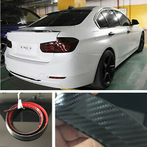 Universal Carbon Fiber Look Car Rear Roof Trunk Spoiler Wing Lip Sticker Kit New