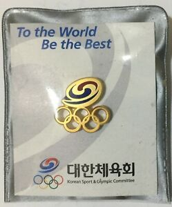 UNDATED OLYMPIC GAMES PIN. NOC. TEAM KOREA. SMALL PIN IN ORIGINAL COVER